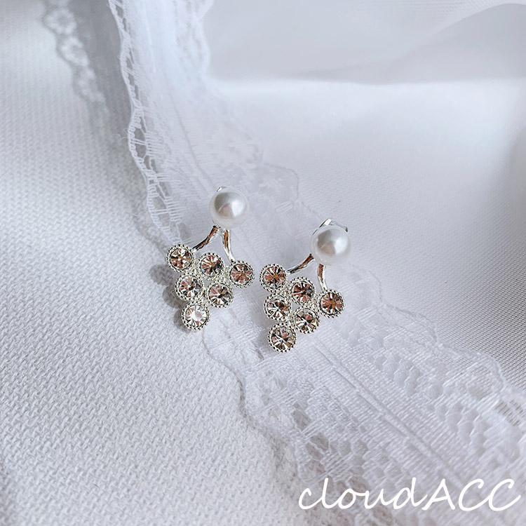 [cloud] Korean dongdamen grape design sense back hanging earrings with female zircon pearl 2020 Fashion Earrings