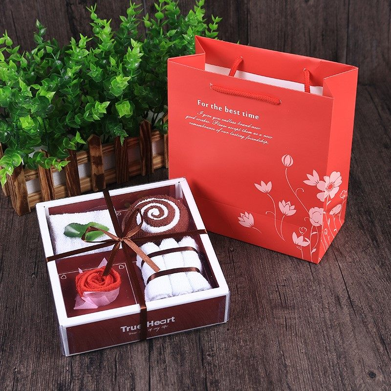 Tanabata Valentines Day creative and practical Cake Towel Gift Box Set Wedding gifts, new years annual meeting gifts.