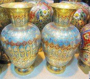 印度特色进口印度手工工艺一对铜花瓶家居摆件