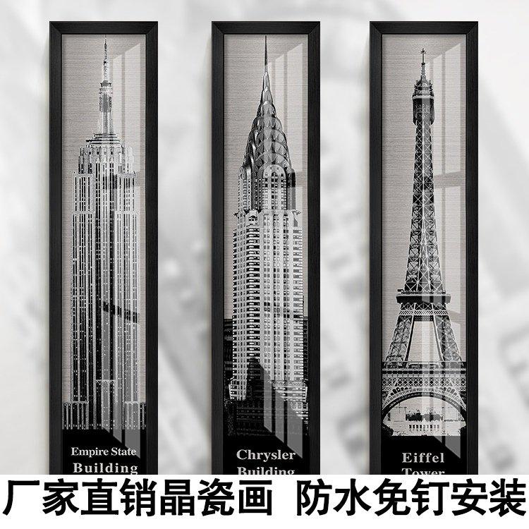 现代巴黎铁塔黑白咖啡厅走廊挂画