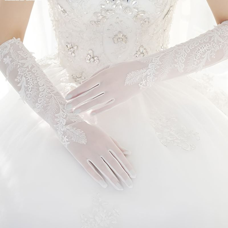 Bridal Wedding Gloves Lace Satin lengthened elbow white red wedding accessories spring and autumn winter Korean dew finger