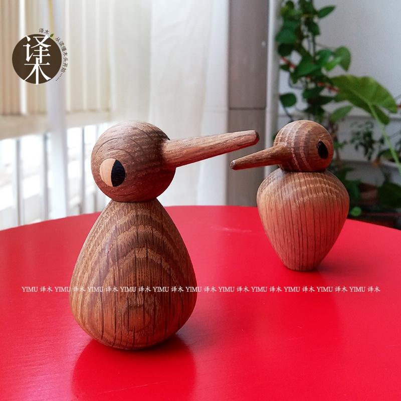【】出口单实木小鸟猫头鹰摆件丹麦原木j木雕木偶北欧摆拍道具