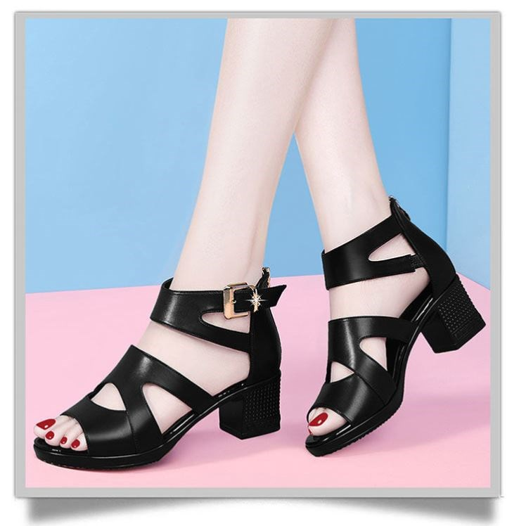。 Sandals women 2021 new summer Roman fish mouth womens thick heels high heels thick soles versatile middle heels fashionable women