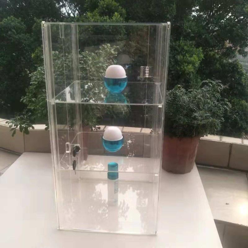 小型亚克力旋转展示柜商用饰品产品透明玻璃柜带锁迷你前台展柜