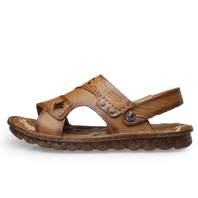 Genuine special clearance counter genuine mens leather sandals inside and outside full leather ox tendon bottom leather sandals new summer