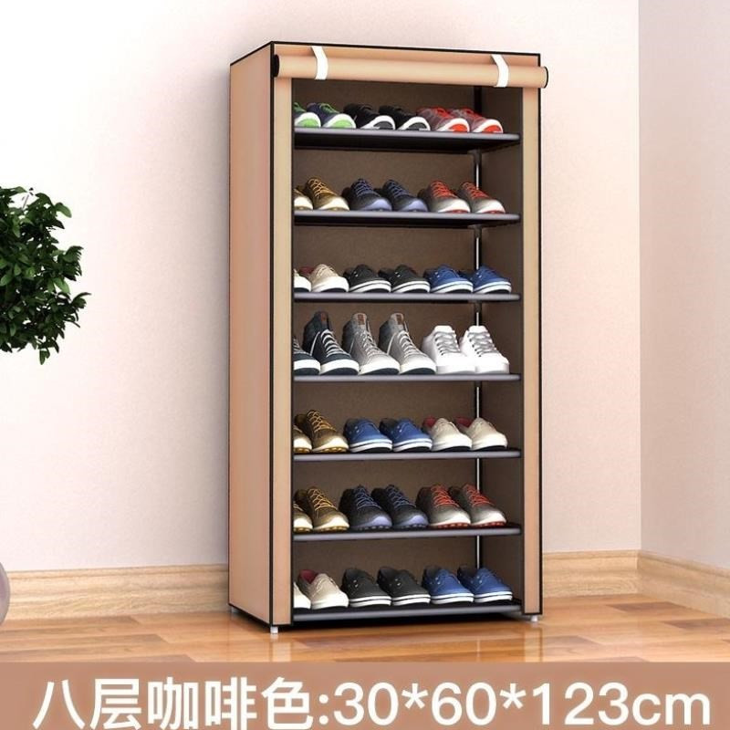. Shoe rack dustproof Oxford canvas dormitory shoe cabinet simple cloth art thickened cover coat wardrobe cloth cover household