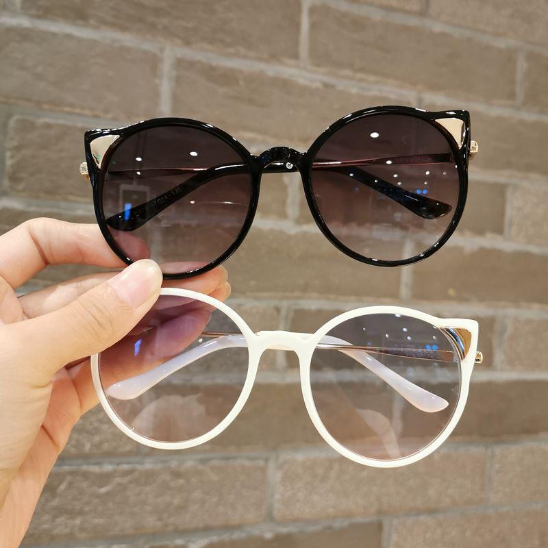 。 Childrens Sunglasses Boys and girls cute cat ears Sunglasses girls glasses round anti ultraviolet Sunglasses