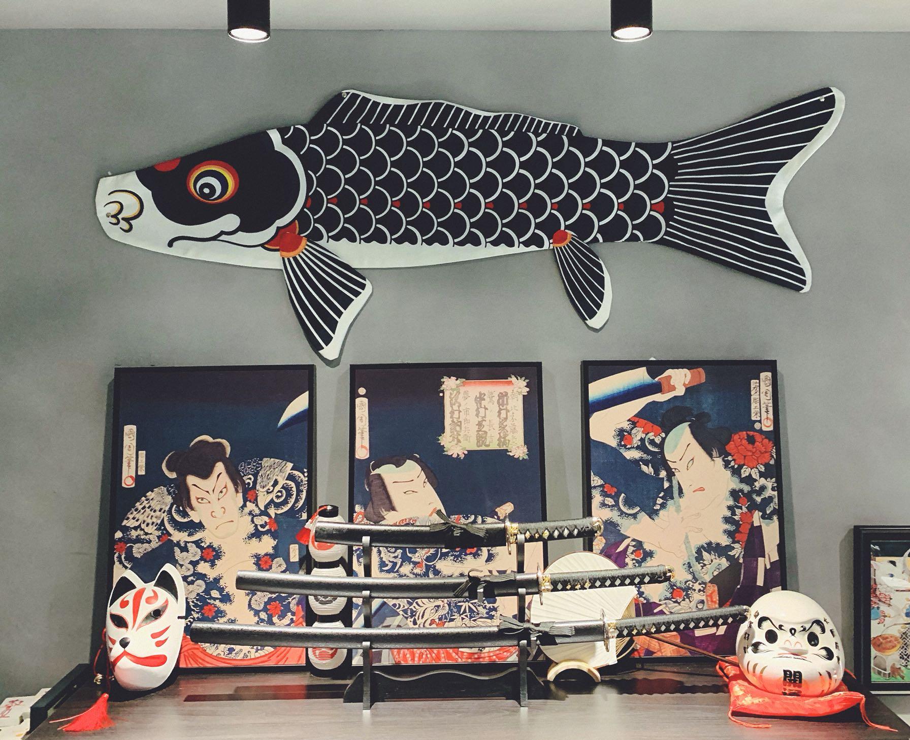 日式鲤鱼旗挂布超大1.7m!浮世绘风格装饰挂布墙挂定制款
