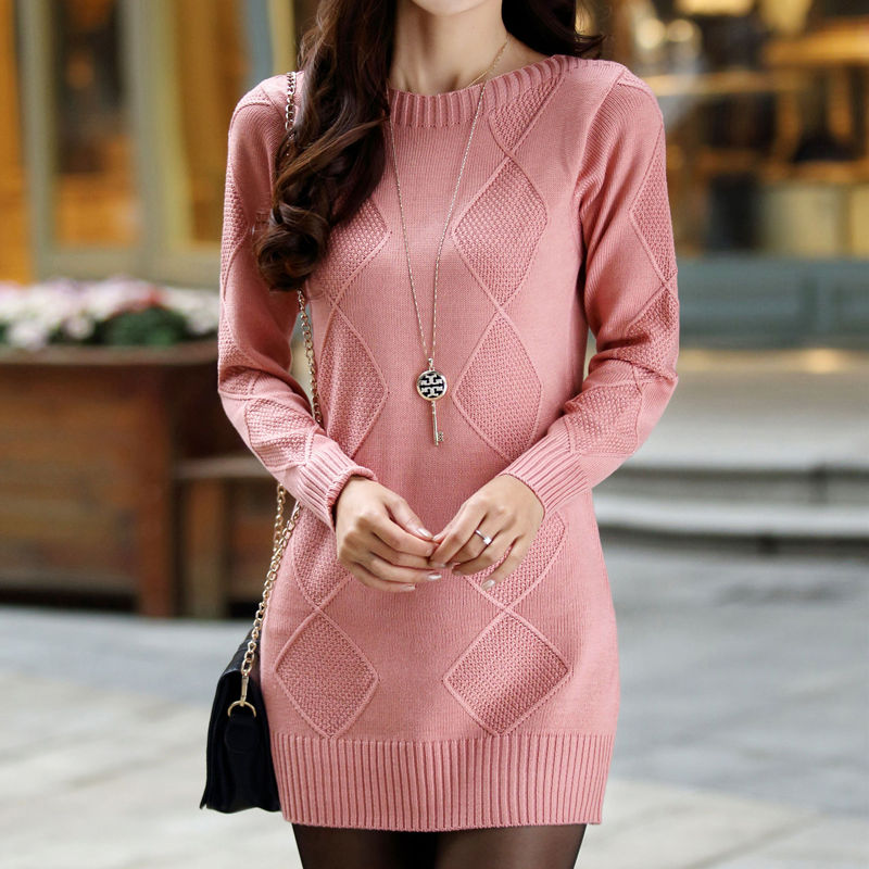 Coat collar style autumn winter long sleeve new knitted sweater Korean Pullover female backing medium length loose height