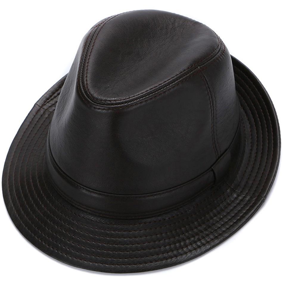 秋冬季韩版真皮帽子男中老年人礼帽潮英伦牛仔爵士帽保暖防寒复古