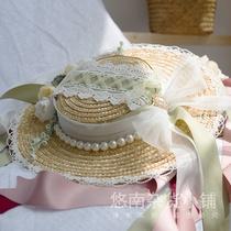大明少女悠南汉洋折衷洛丽塔欧式复古遮阳夏季平顶蕾丝宽檐草帽子