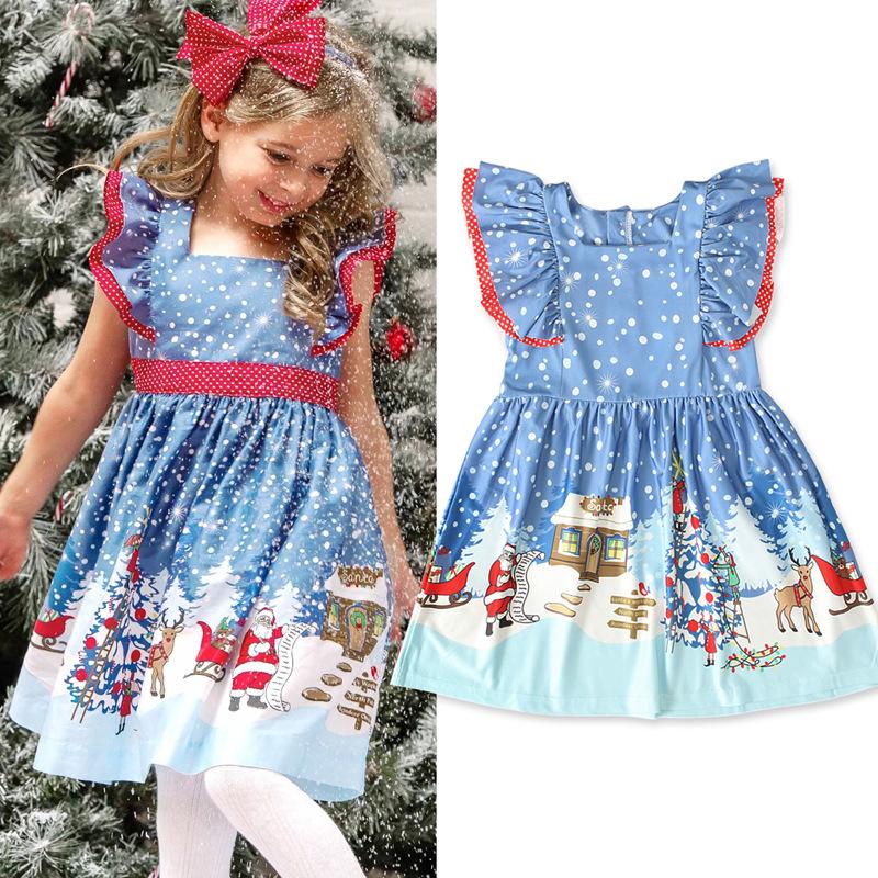 儿童欧美夏季款女孩童连身裙子无袖圣诞节雪人绑带连衣裙童装 ins