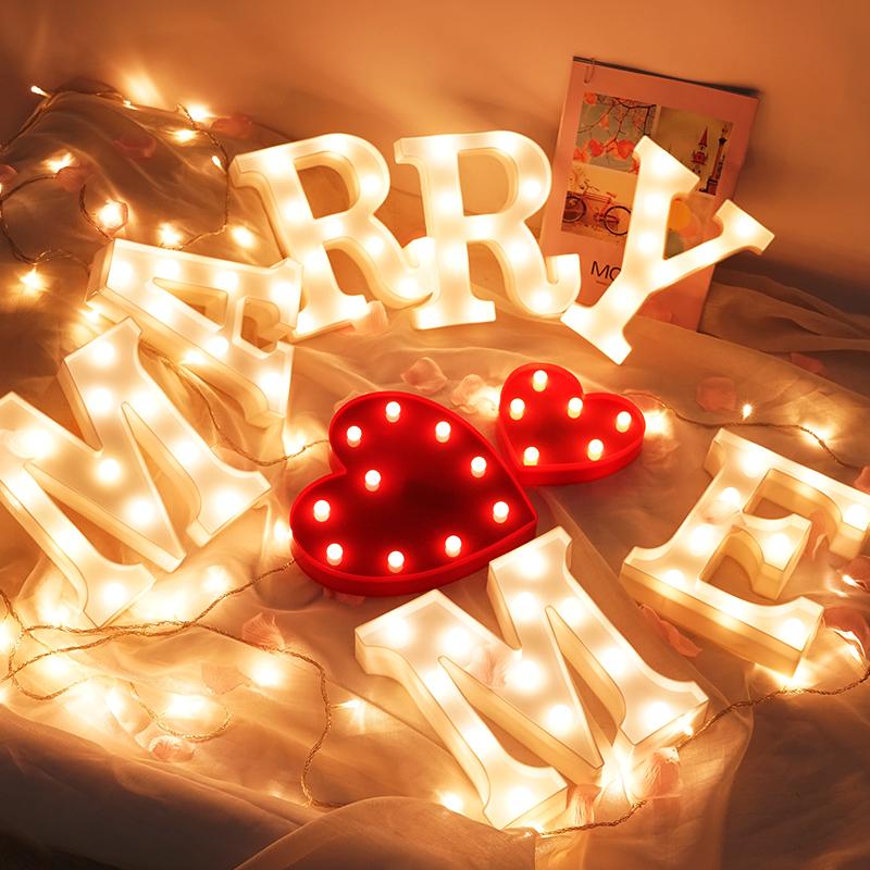 嫁给我LED字母灯求婚房布置创意装饰英文发光生日数字灯惊喜浪。