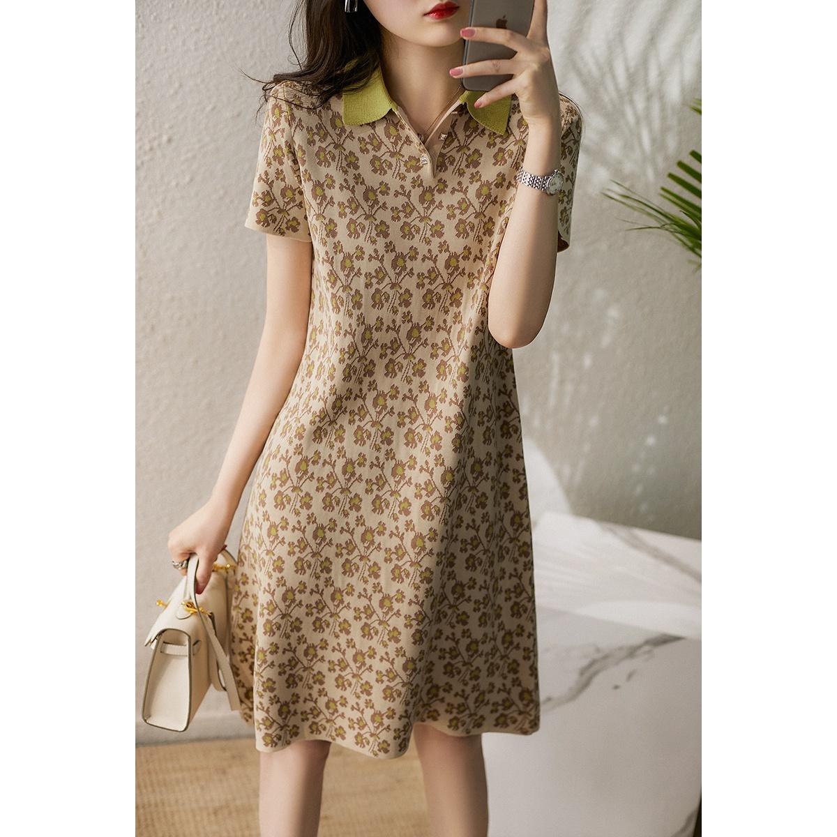 Short sleeve thin color skirt womens 2021 summer floral temperament Lapel knitted acetate cotton medium length dress