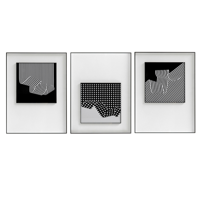 波動の幻覚は現代で簡単に白黒の線の客間を飾って画いて、ソファーの背景の壁の壁画を掛けます。