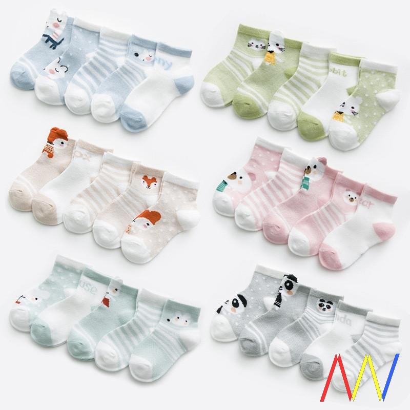 5Pairs 0-2Y Infant Baby Socks for Girls Cotton Newborn Boy
