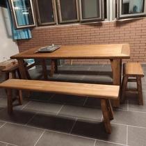 老榆木门板实木茶桌条案风化木原木复古做旧吧台餐桌民宿家具定制