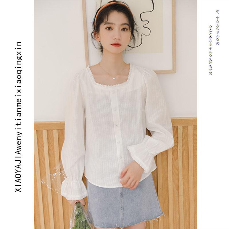 高档新白美纯棉甜别喇叭袖衬衫女秋装2021年新R款蕾丝方领色致奢