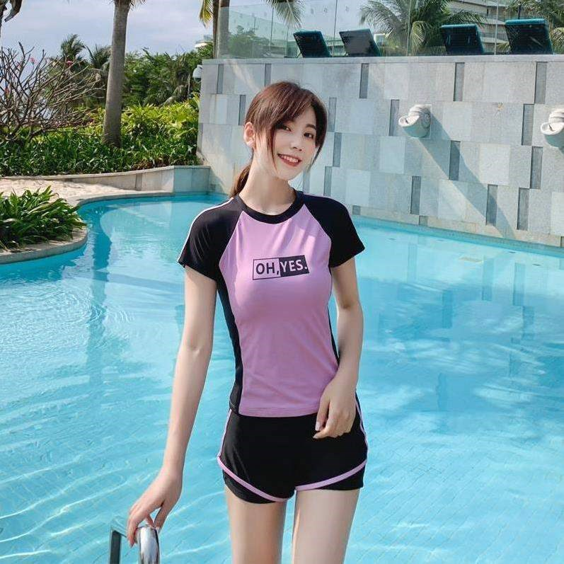Short sleeve conservative girls childrens split swimming suit surfing middle school students diving enlarge middle school students two piece style