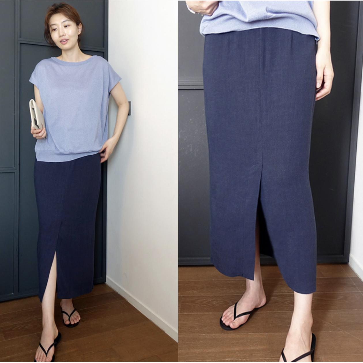 AO前开叉亚麻粘藏蓝色半身裙中长修身一步铅笔包裙轻薄款夏裙小个