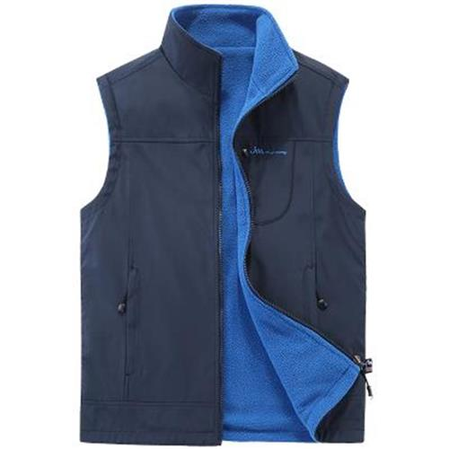 Middle aged and old mens Vest warm autumn and Winter Fleece sleeveless sweater jacket vest father stand collar jacket mens jacket