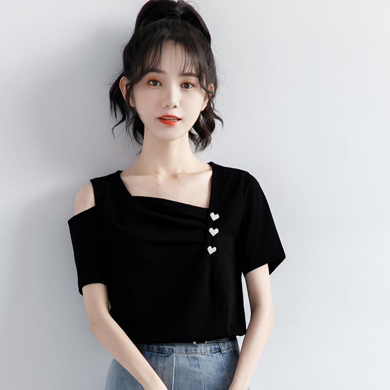 2021夏季新款小众设计感短袖T恤女单侧露肩锁骨爱心别致黑色上衣