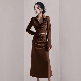 欧洲站女装2021新款秋装早秋两件套连衣裙气质轻奢女装高级感套装