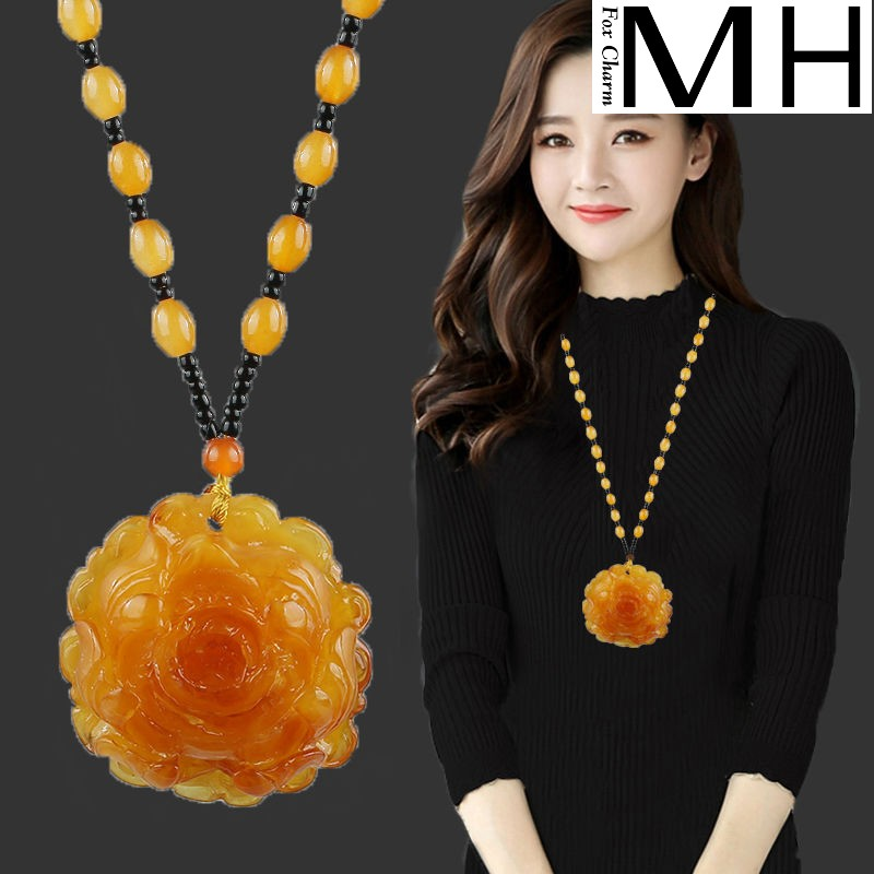Chain sweater yellow pendant oil rose dress long hanging amber wind jewelry chicken woman old nationality Necklace honey wax