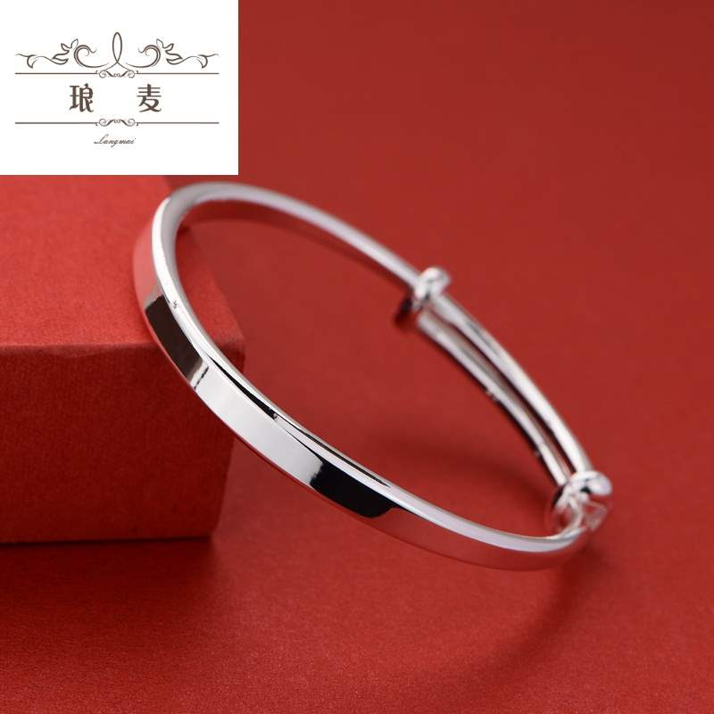 [Jingxuan Zhenpin] 999 full silver baby Sterling Silver Bracelet Anklet long-life lock female smooth face push-pull child