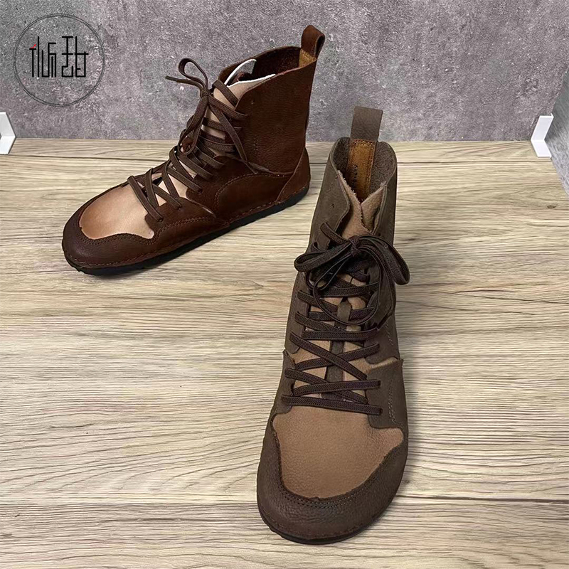Bantian 2021 autumn leather retro womens boots British punk handsome lace up womens shoes non slip flat heel short boots