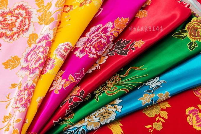 实物拍摄婚庆被面七彩杭州丝绸织锦缎百子龙凤被面被面子。