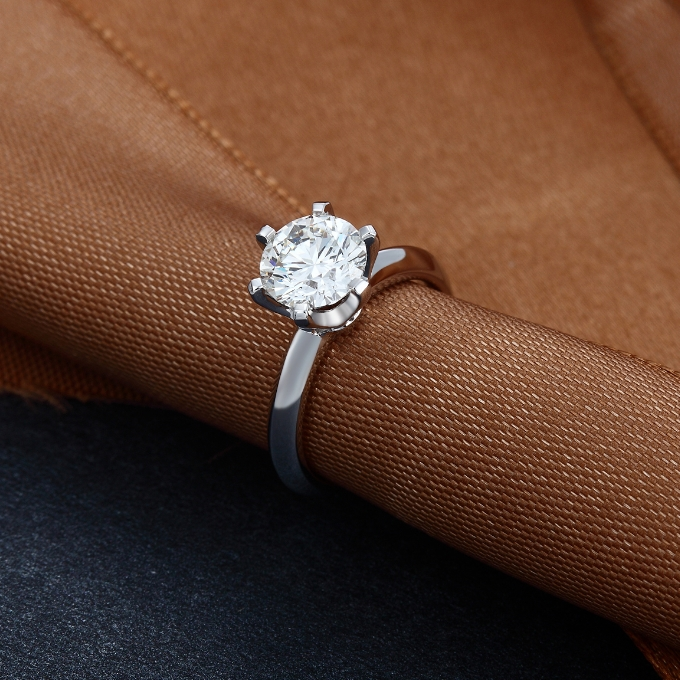 Pure fate female 40 points diamond ring 18 K gold confession proposal ring wedding anniversary platinum ring