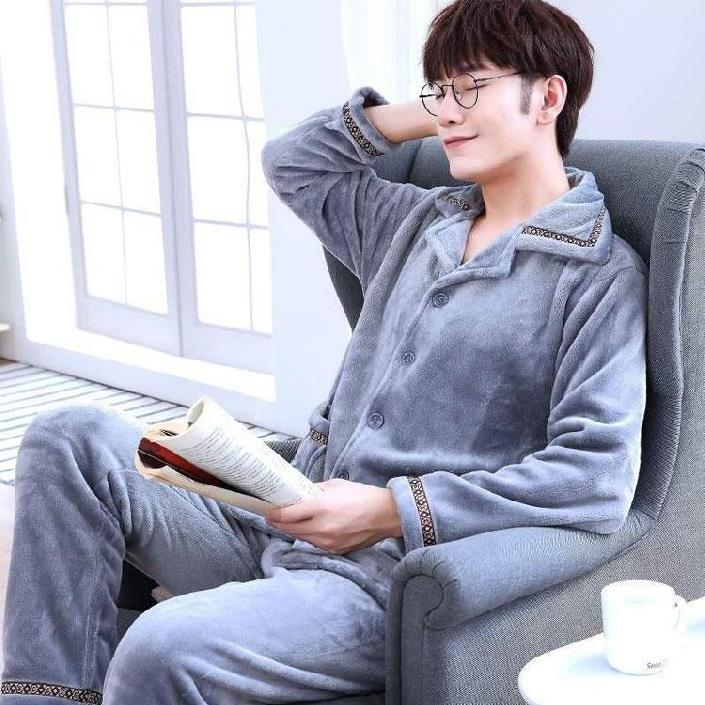 。 Pajamas mens autumn and winter coral velvet mens youth early autumn velvet comfortable pajamas home clothes boys 2019