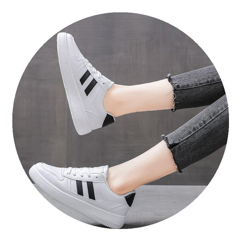 Light shoes womens fashion Xiaobai leather board shoes in autumn and winter 2020 students flat bottomed versatile canvas shoes