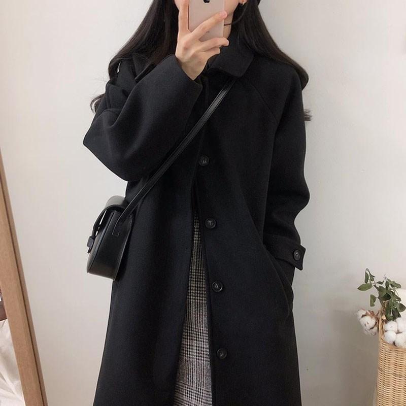 个子毛呢款日系中长黑色加厚小大衣