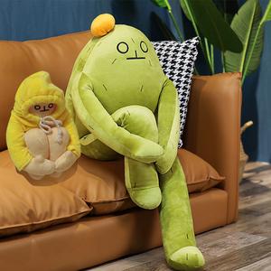人偶玩愈香蹲韩人自玩人蕉仙小腿掌仔公蕉国闭治抱枕香绒具抱毛
