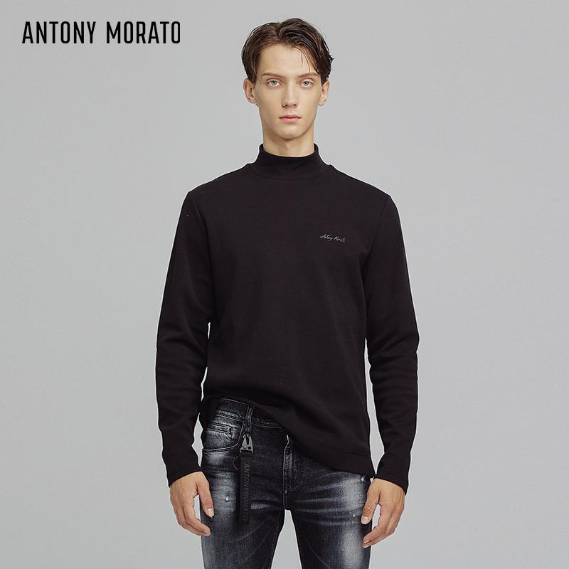 Antony morato autumn winter new mens half high collar bottomed shirt casual black T-shirt versatile Top Men