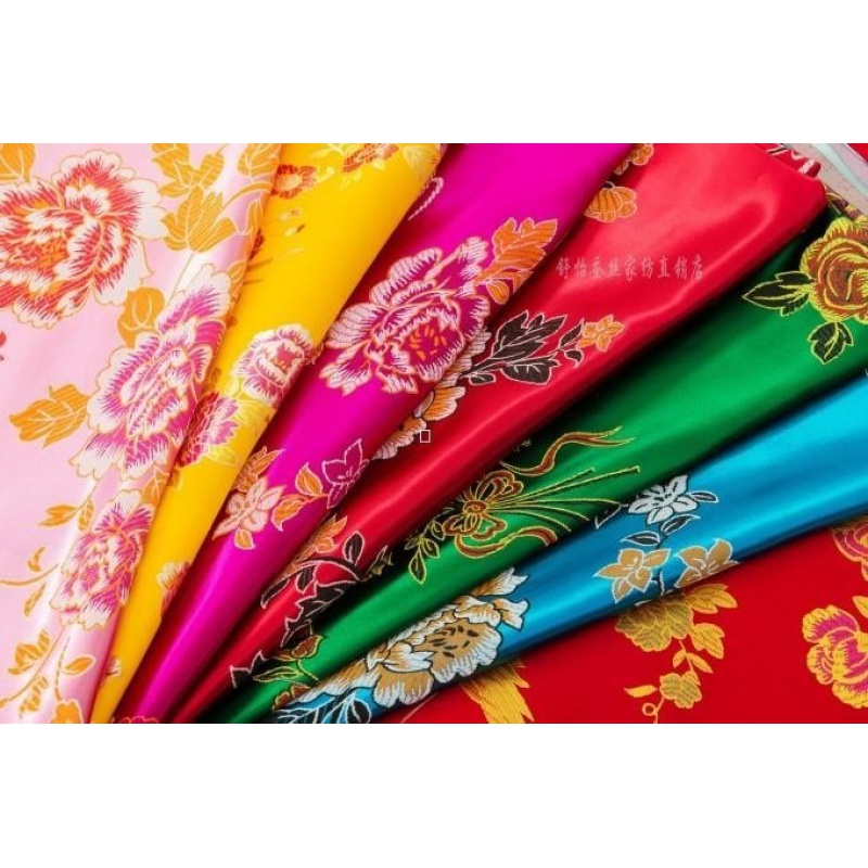 实物拍摄婚庆被面七彩杭州丝绸织锦缎百子龙凤被面被面子