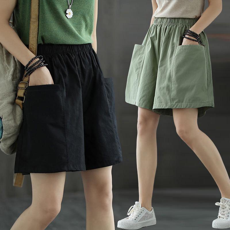 春夏季口袋短裤女休闲阔腿裤纯棉宽松大码女装松紧腰外穿裤衩阔腿