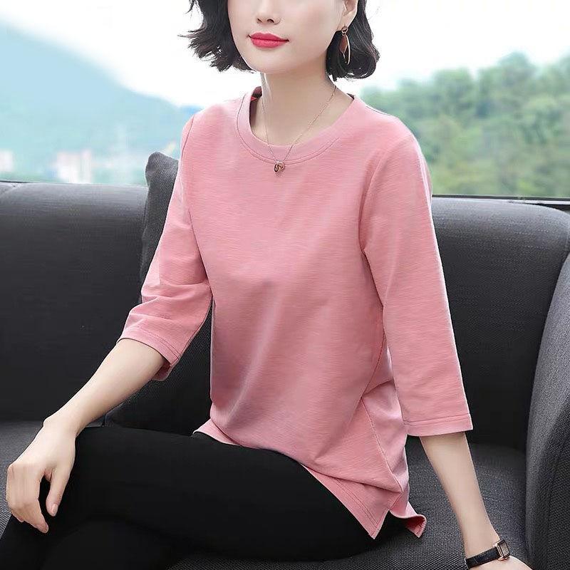 韩版新款七分袖t恤女糖果色大码女装春季妈妈装中袖打底衫上衣女