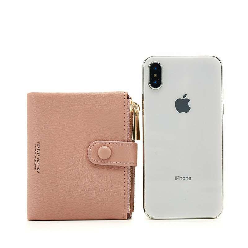 2019 new female short Korean student large capacity two fold small fresh zero wallet double zipper small wallet