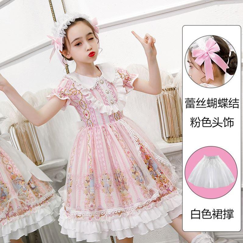 正版洛丽塔裙子正牌夏季女童公主裙夏儿童迪士尼lolita连衣裙夏款