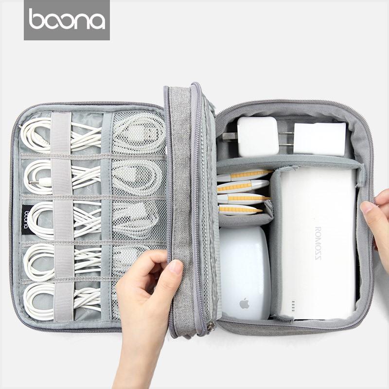 Digital storage bag electronic travel portable power accessories bag fall proof double layer storage bag handbag microphone.