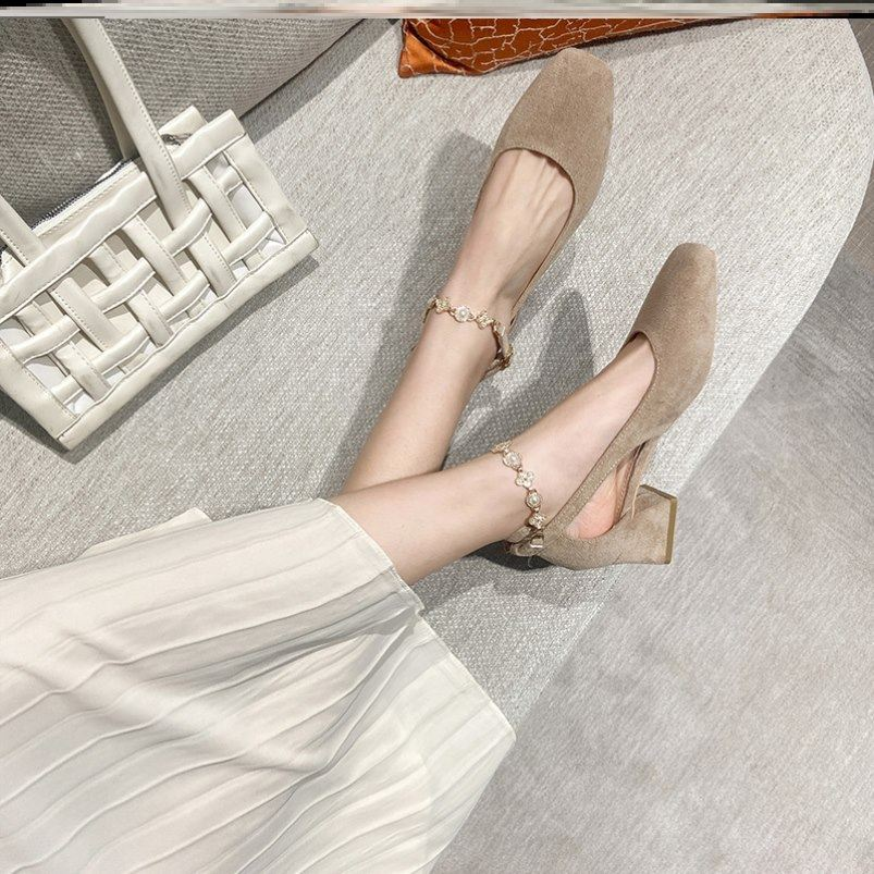 In the summer of 2021, the new one-line buckle Wrap Head sandals for girls fairy style thick heel evening shoes high heels for girls
