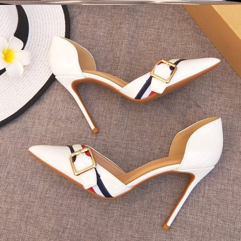 New fashion hollow pointed thin heel Orsay high heels womens patent leather square buckle versatile nude black white single shoes