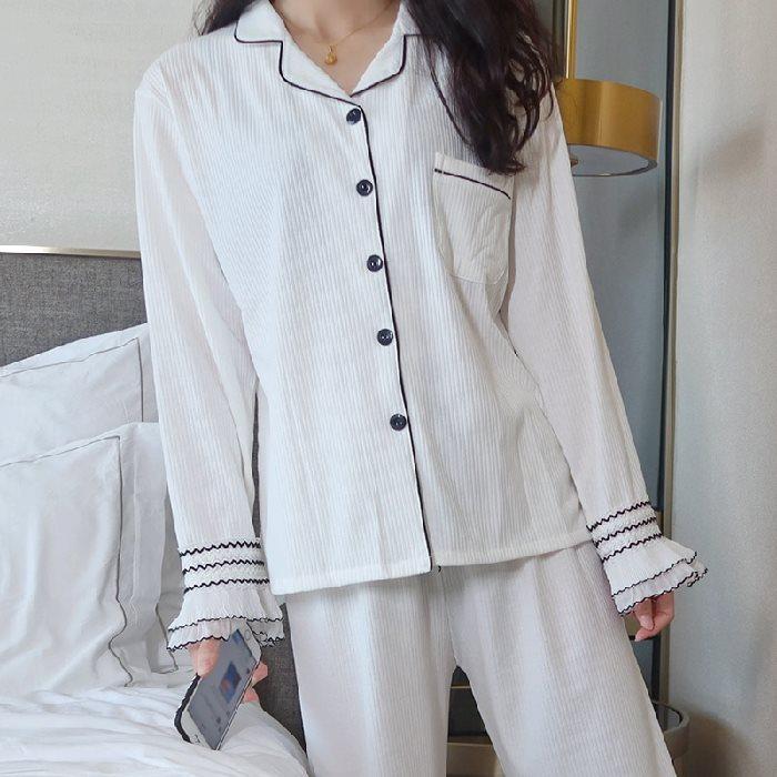 简约清新秋冬家居纯棉睡衣纯色服休闲日系女坑新款长袖衫条开套装