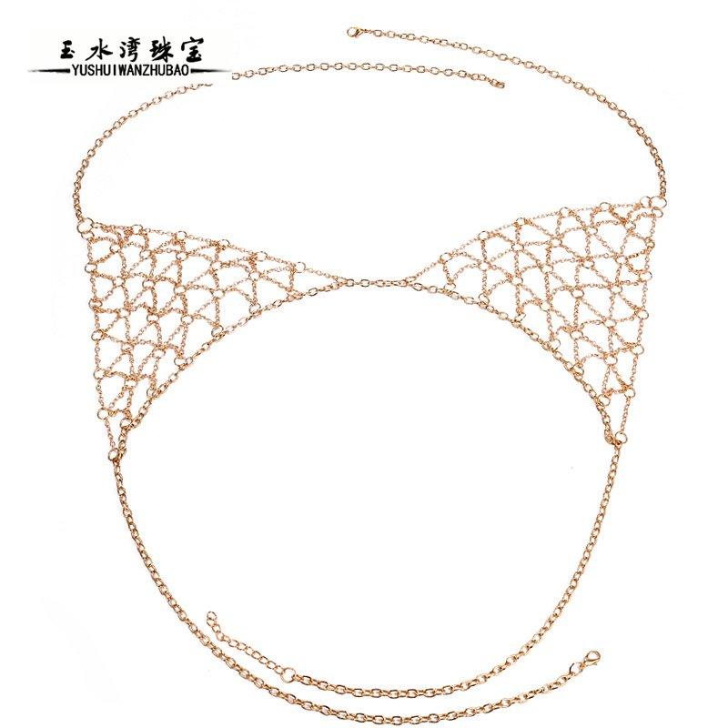 European and American fashion accessories sexy and versatile personalized nightclub body chain bikini manual chest chain