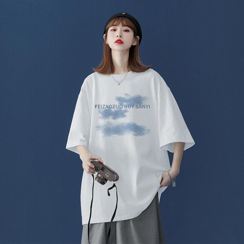中國代購 中國批發-ibuy99 T恤女 白色纯棉短袖T恤大码女装ins潮2021新款设计感小众宽松半袖上衣夏