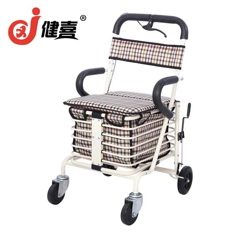健喜老年购物车代步车折叠座椅可坐四轮买菜休闲助步手推车小拉车
