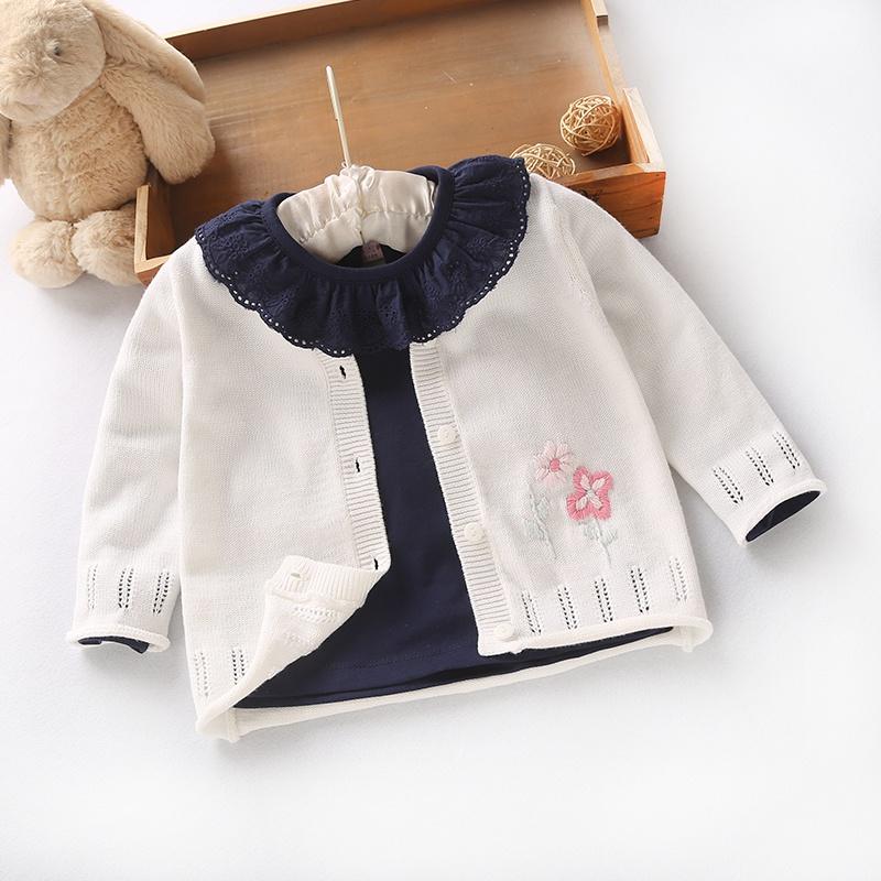 春秋季新品女童手工绣花毛线开衫婴儿外套宝宝全棉线柔软针织上衣